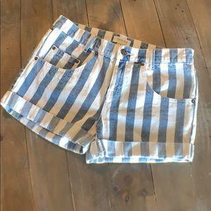 Bold Striped Denim Shorts